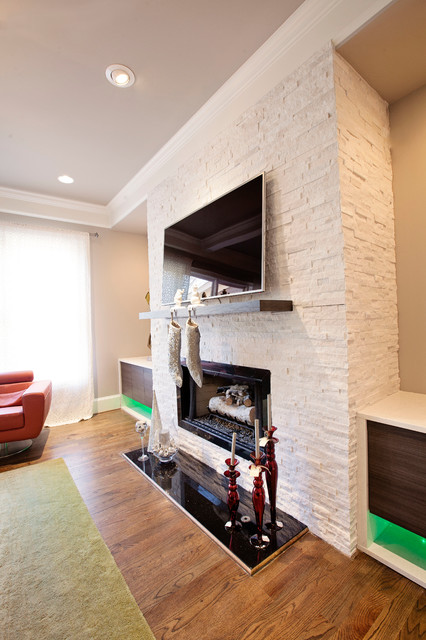 Kitchen And Living Space Custom Cabinets Fireplace And