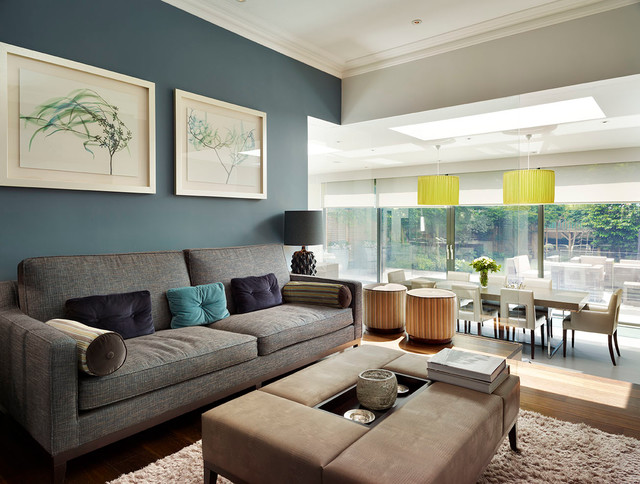 Example of a trendy living room design in London Glass Partition Wall  Houzz