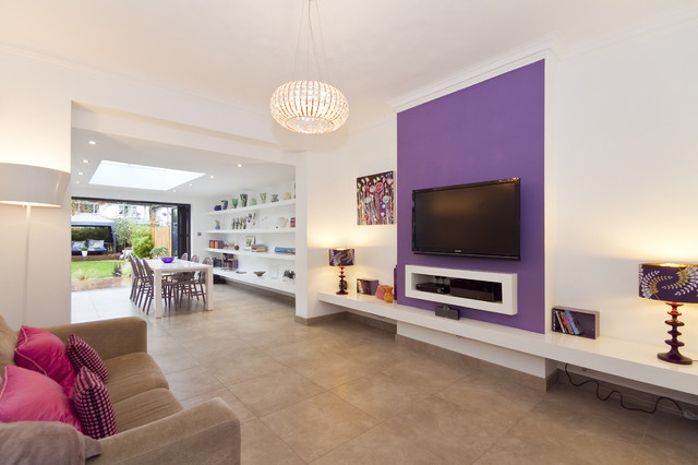 Trendy Open Concept Living Room Photo In London With Purple Walls Part 56
