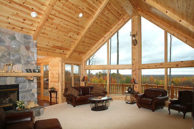 Knotty Pine Tongue And Groove Paneling Great Room Rustic Living Room Other Metro By