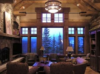 Koselig Log Cabin Interior Photo Traditional Living