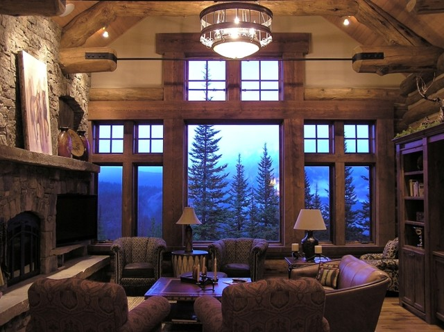 Koselig log cabin interior photo traditional living Mountain home interiors