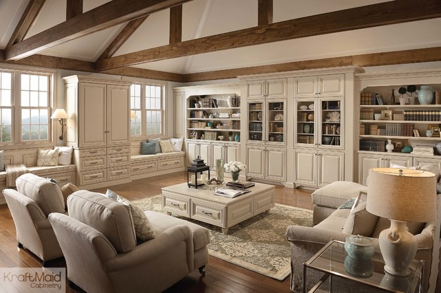 ... Maple Cabinetry in Mushroom with Cocoa Glaze traditional-living-room