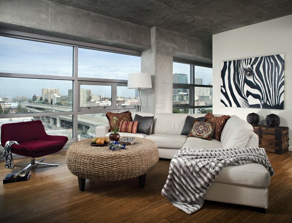 Living room - industrial medium tone wood floor living room idea in San Francisco