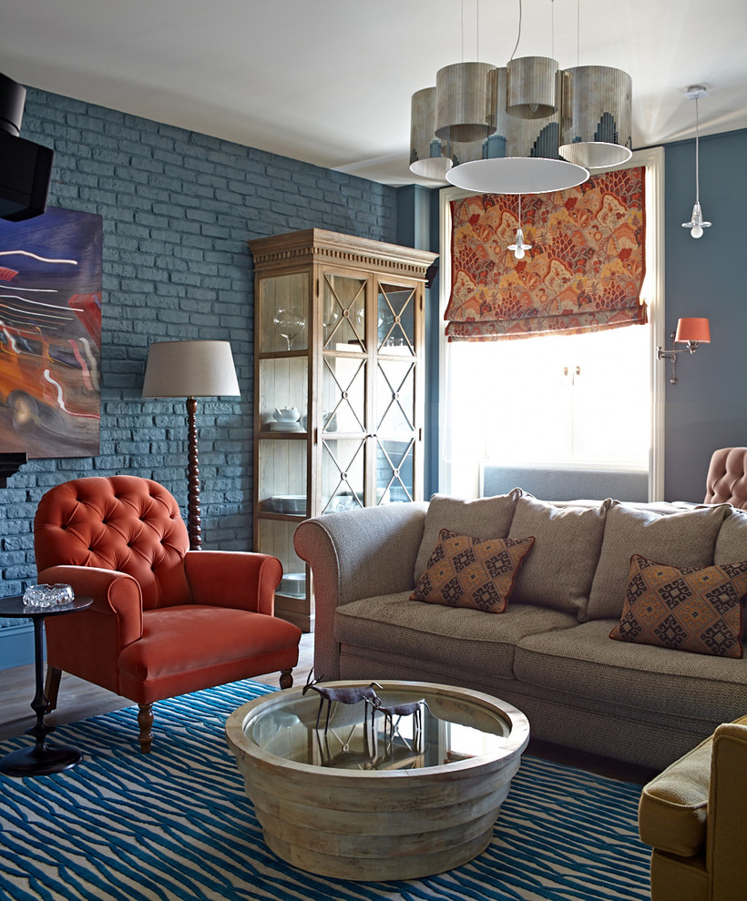 Living room - eclectic living room idea in Moscow