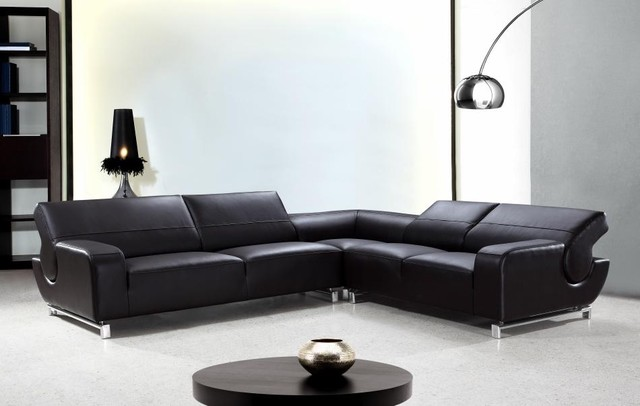 L-Shaped Black Leather Sectional Sofa with Adjustable Backrests ...