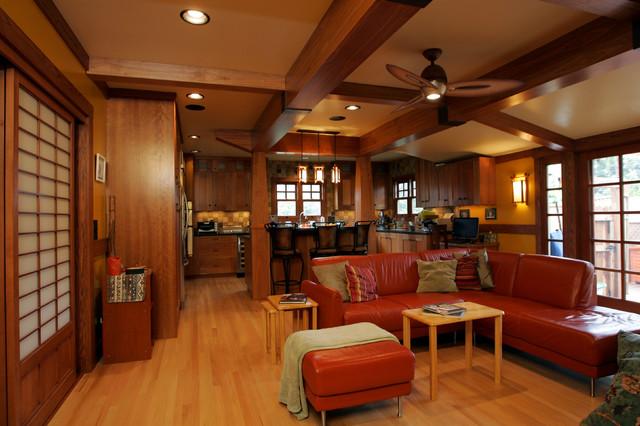La crescenta asian infused craftsman living room remodel for Craftsman living room design ideas