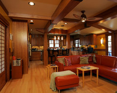 La Crescenta Asian Infused Craftsman Living Room Remodel traditional living room