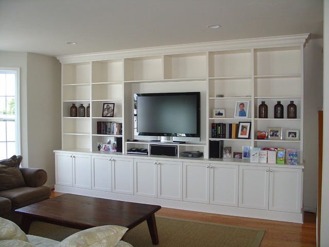 Captivating Lacquer Painted Wall Unit Traditional Living Room