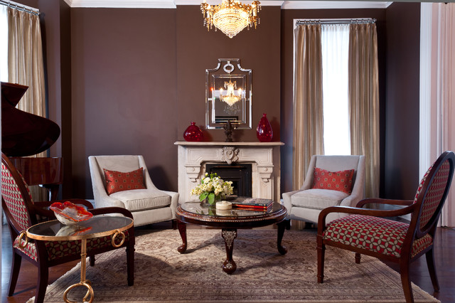 Example Of A Mid Sized Classic Formal And Enclosed Dark Wood Floor Living  Room Design