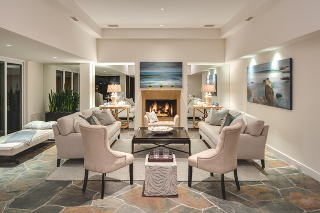 Laguna Beach Home Staging Transitional Living Room