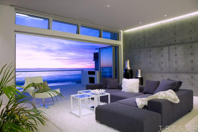 Laguna beach residential modern living room orange for Modern beach house living room