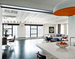 Laight Street Loft industrial-living-room