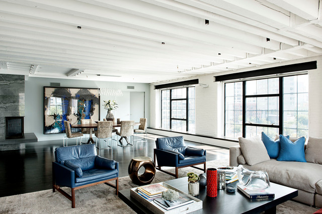 Example Of A Large Urban Open Concept Living Room Design In New York
