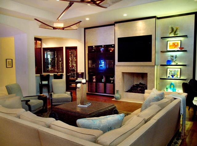 Lake Austin Estate contemporary-living-room
