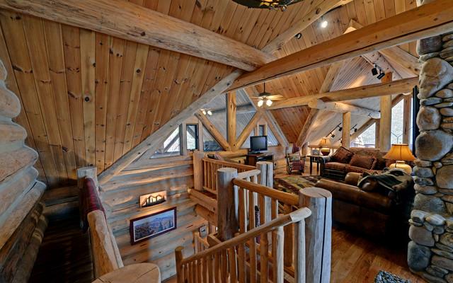 Lake Blue Ridge Custom Log Home traditional-living-room
