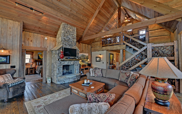 Lake blue ridge custom log homes rustic living room for Living room atlanta