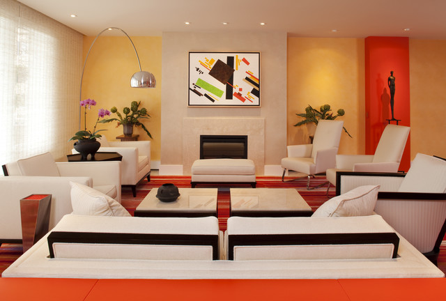 Lake Calhoun colorful condo Modern Living Room Minneapolis