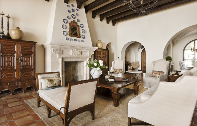 Lake Conroe Spanish mediterranean living room