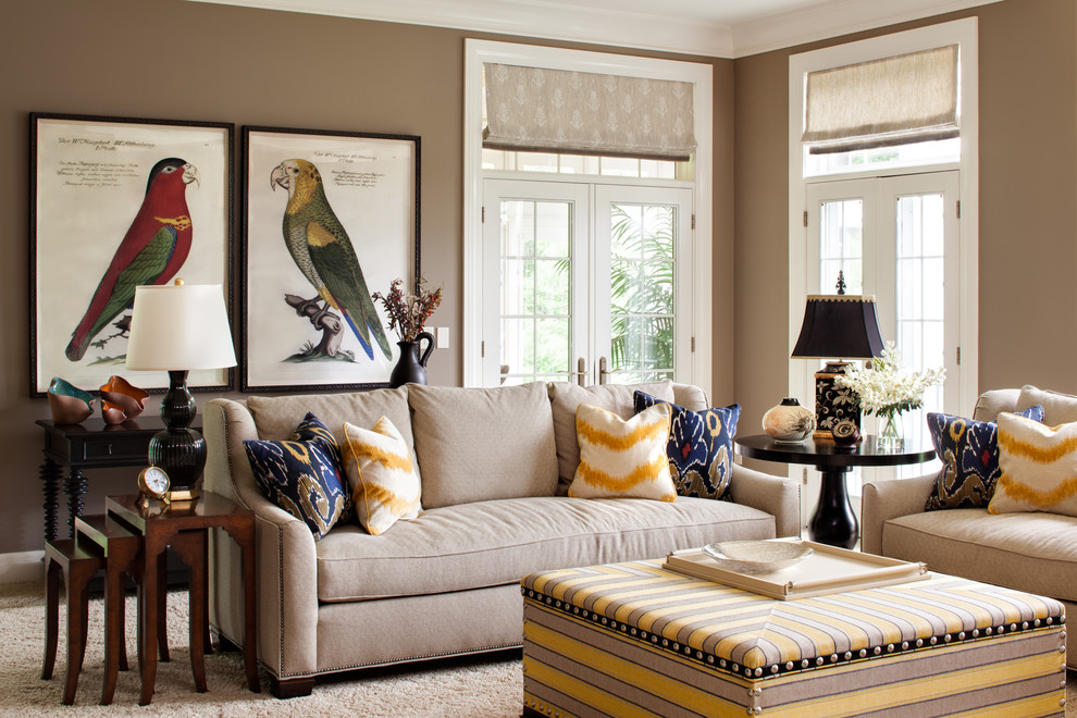 Living room - traditional carpeted living room idea in Milwaukee with beige walls