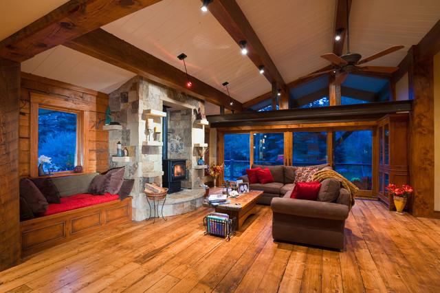 Lake Creek Cabin rustic-living-room