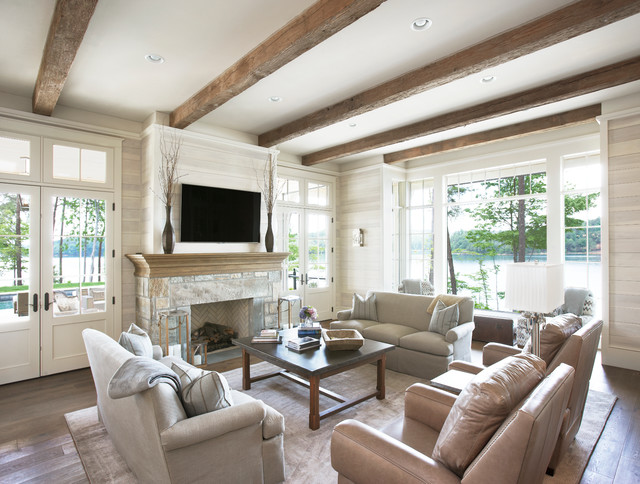 Lake Front Country Estate - Traditional - Living Room ...