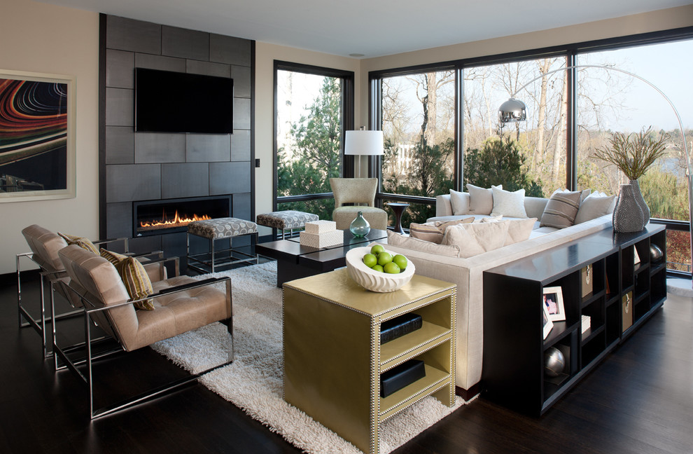 Large trendy living room photo in Detroit with a ribbon fireplace and a wall-mounted tv