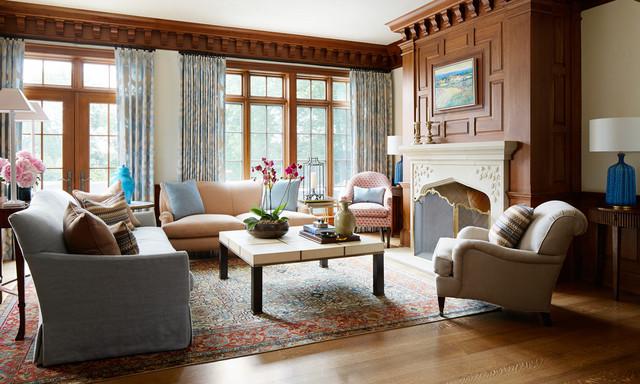 extraordinary living room transitional interior | Lake Front Tudor