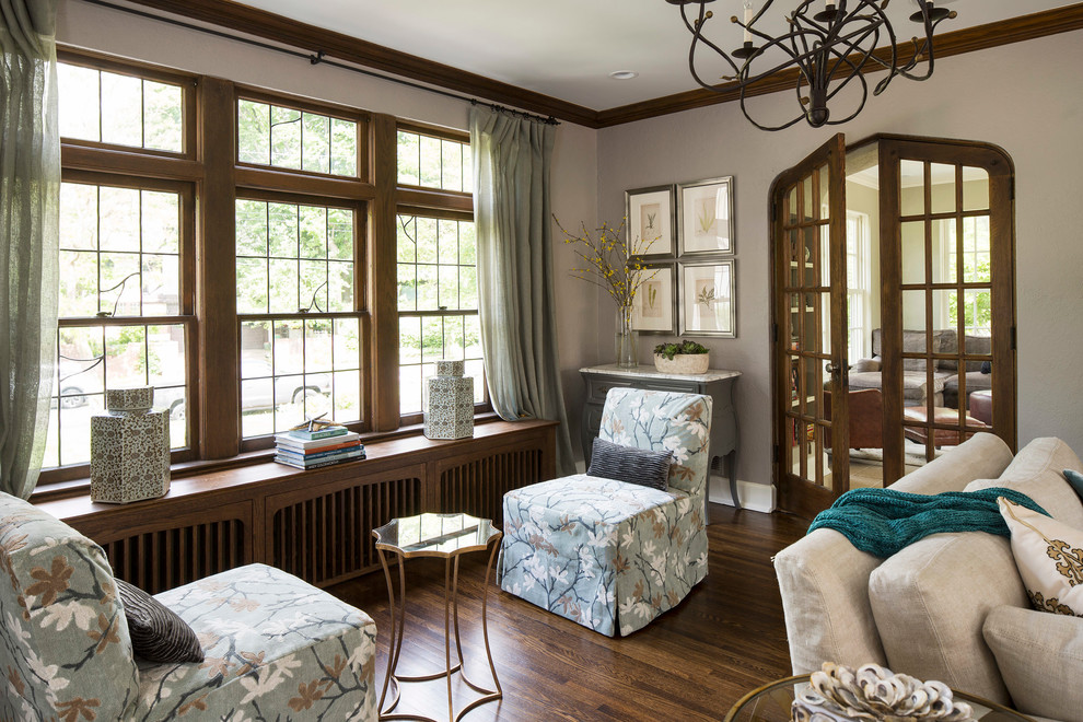 Inspiration for a timeless formal and enclosed dark wood floor living room remodel in Minneapolis with gray walls
