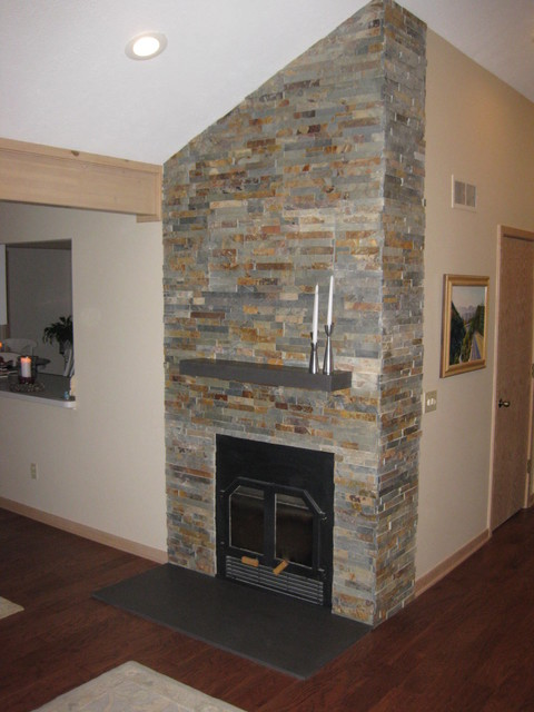 Lake house fireplace with ledger stone and engineered for Engineered fireplace
