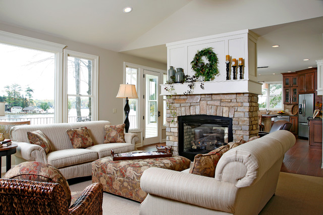 Lake House Traditional Living Room Part 95