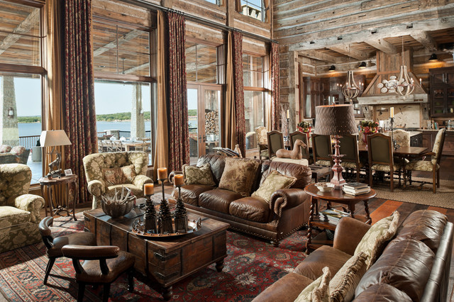 Lake house rustic living room dallas by j d for Texas decorations for the home