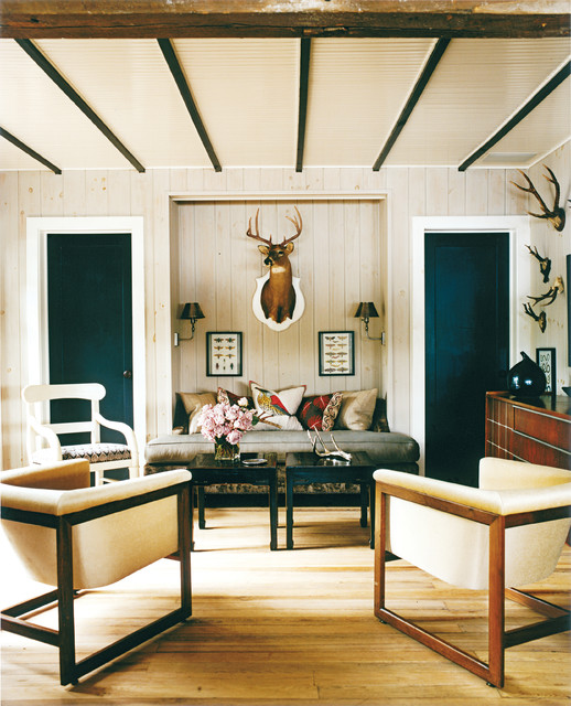 Blue Accents In Knotty Pine Living Room