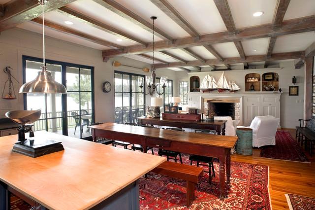 Lake Houses Rustic Living Room Dallas By Durrett Homes