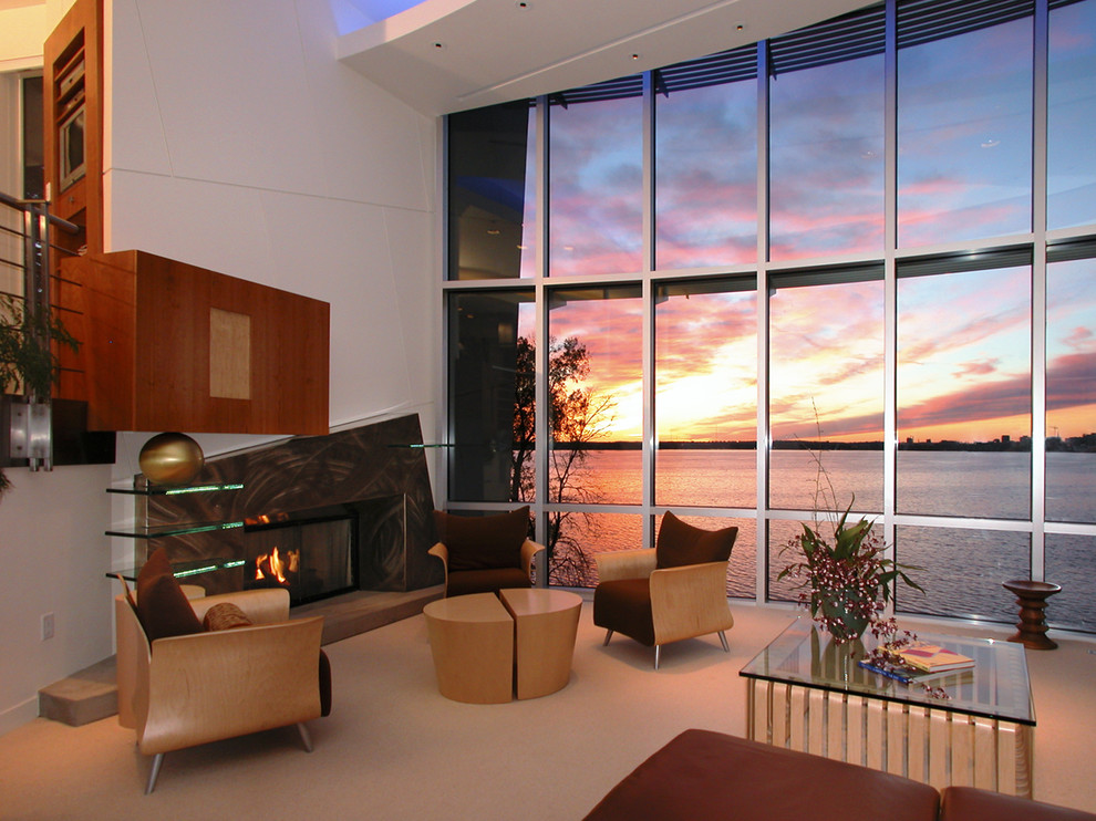 Trendy open concept living room photo in Other with a standard fireplace