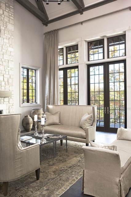 lake residence transitional living room by linda