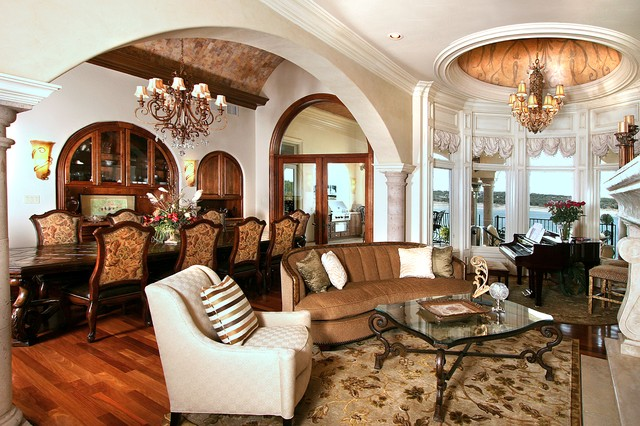 Lake travis mediterranean inspired waterfront home victorian living room austin by for Mediterranean inspired living room