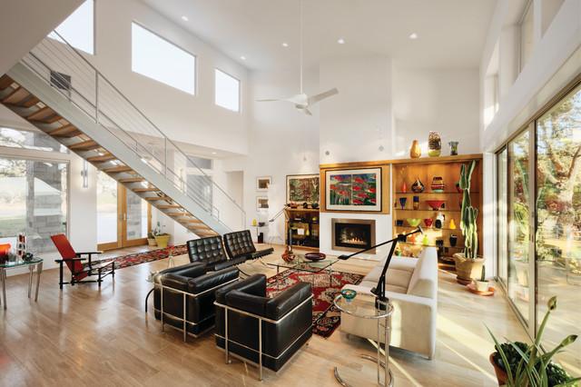 Lake travis view contemporary living room austin for Danze e davis architects