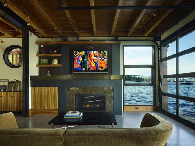 Marvelous Living Room With Glass Overhead Door Down. Modern Living Room