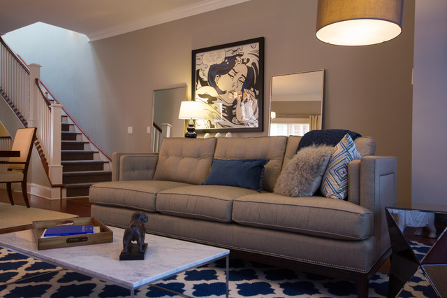 Transitional Living Room With Coastal Vibe And Blue: Lake View, Chicago Transitional Living Room & Dining Room