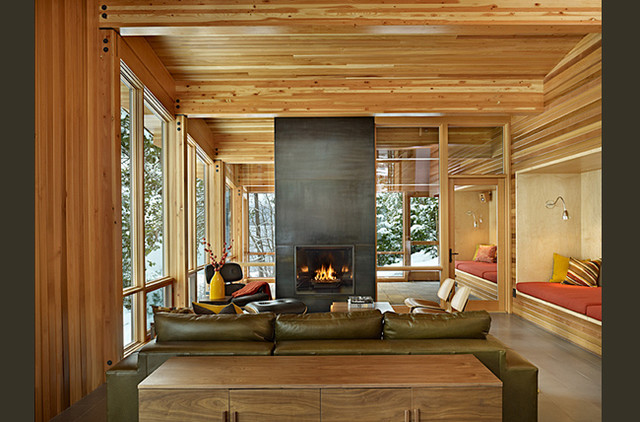 Lake wenatchee cabin modern living room seattle by theresa benny interior design Modern cabin interior design