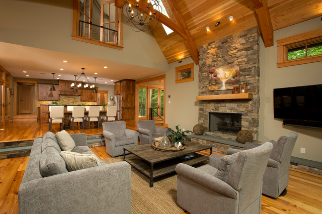 Lakefront Timber Frame Home and Pavillions - Rustic - Living