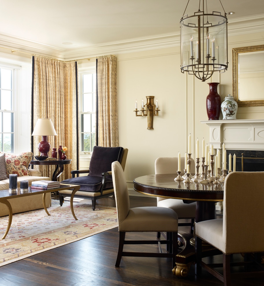 Inspiration for a timeless dark wood floor living room remodel in Chicago with beige walls