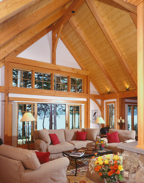 Lakeside great room retreat traditional living room for Timber frame great room