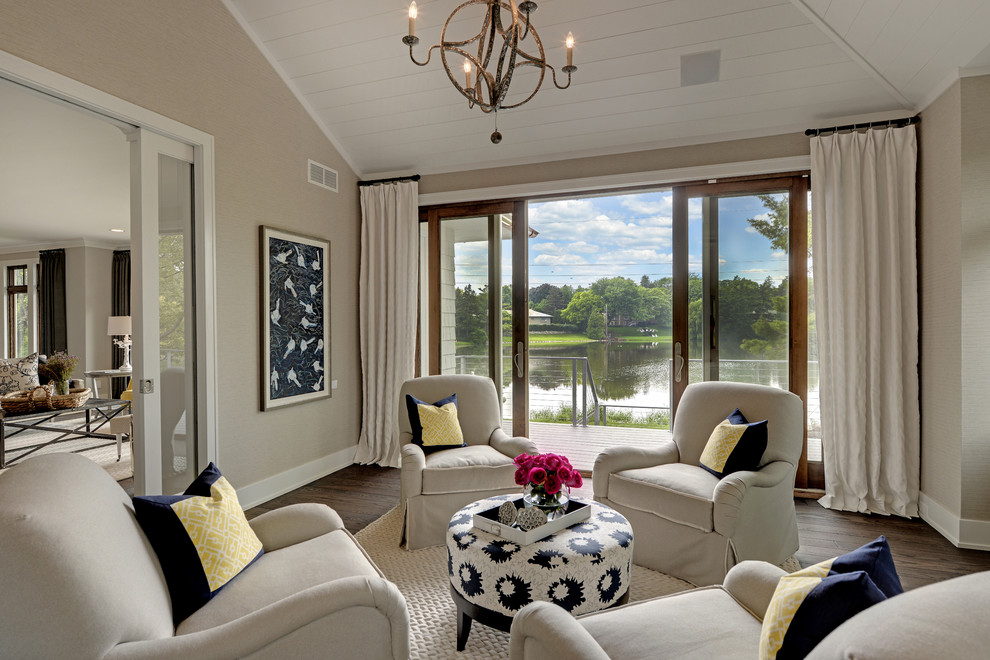 Example of a transitional formal and enclosed living room design in Minneapolis
