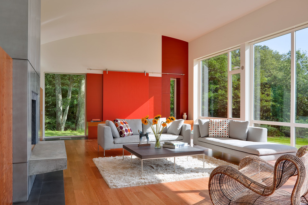 Living room - mid-sized contemporary open concept medium tone wood floor living room idea in Bridgeport with red walls, a standard fireplace, a metal fireplace and a concealed tv