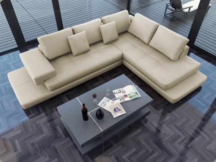 Lamont - Ultra Modern Cream Leather Sectional Sofa ...
