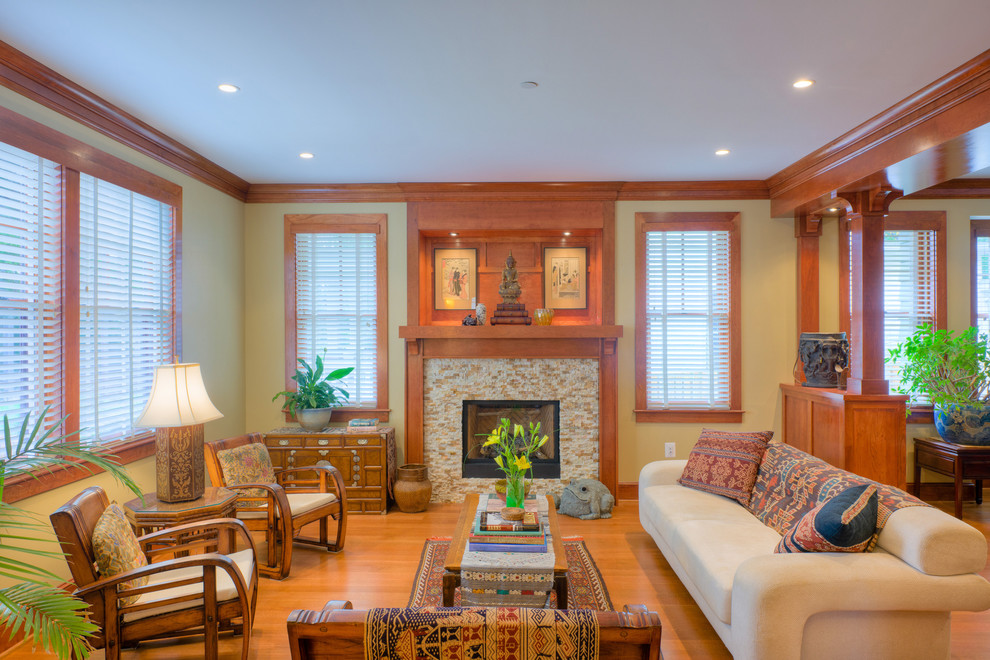 Living room - craftsman living room idea in DC Metro with a tile fireplace