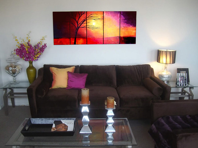 Landscape Abstract Paintings Contemporary Living Room