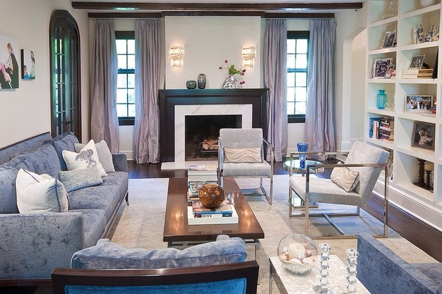 Larchmont tudor transitional style beach house - Transitional style living room ...